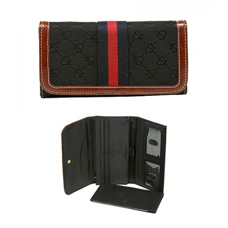 Wallet - Jacquard Monogram Check Book Wallet - Black  -WL-AND008BK