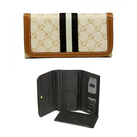 Wallet - Jacquard Monogram Check Book Wallet - Tan  - WL-AND008TN