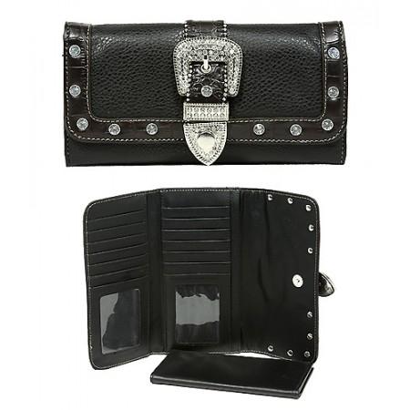 Wallet - Belt Buckle Charm Wallet - Black