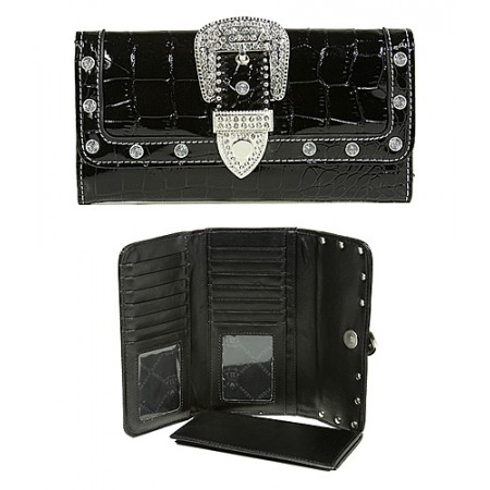 Wallet - Buckled Croc Embossed Wallet - Black - WL-WBLT141CBK