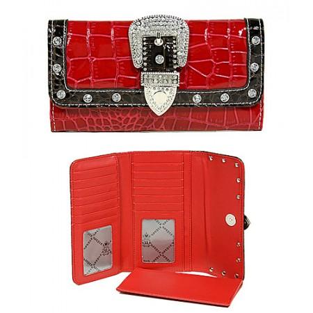 Wallet - Buckled Croc Embossed Wallet - Red - WL-WBLT141CRD