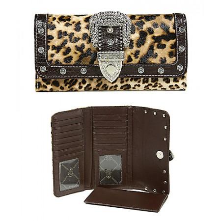 Wallet - Buckled Croc Embossed Wallet - Leopard- WL-WBLT141LPBN