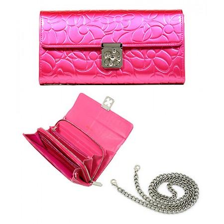Wallet - Genuine Leather w/ Floral Embossed - Pink - WL-C1020PK