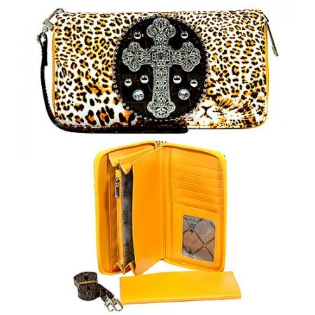 Wallet - Cross Charm - Leopard Print - Mustard -WL-CRS119LP-MUS