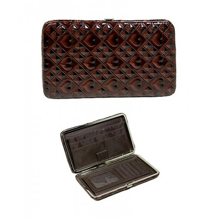 Wallet - Flat Wallet - Shinny Embossed Hearts - Brown- WL-HF7060BN