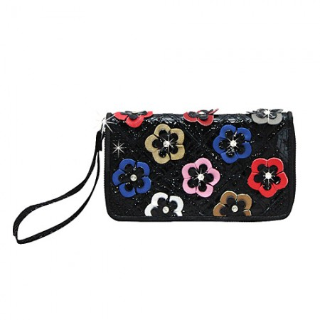 Organizer Wallets - Genuine Leather w/ Jeweled Multi-color Flower Appliques - WL-PPW1000MULT