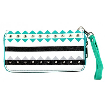 Wallet - Aztec Print Zippered Around with Wristlet - Green