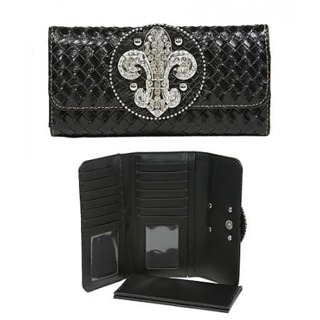 Wallet - Fleur de Lis Charm Wallet/Leather Like - Black-WL-W119BK