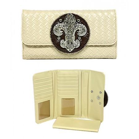 Wallet - Fleur de Lis Charm Wallet - Beige - WL-W123BEI