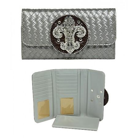 Wallet - Fleur de Lis Charm Wallet - Pewter - WL-W123PT