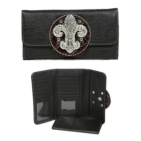 Wallet - Fleur de Lis Charm Wallet/ Leather-like - Black - WL-W129BK