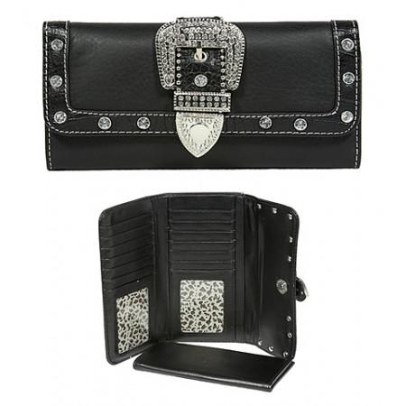 Wallet - Belt Buckle Wallet w/ Check Book Cover - Black - WL-WBLT141BK