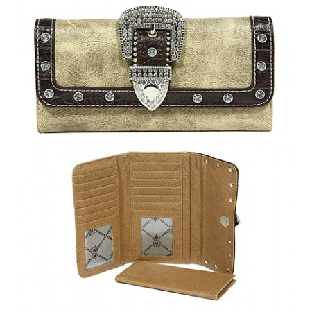 Wallet - Belt Buckle Wallet w/ Check Book Cover - Brown - WL-WBLT141BN