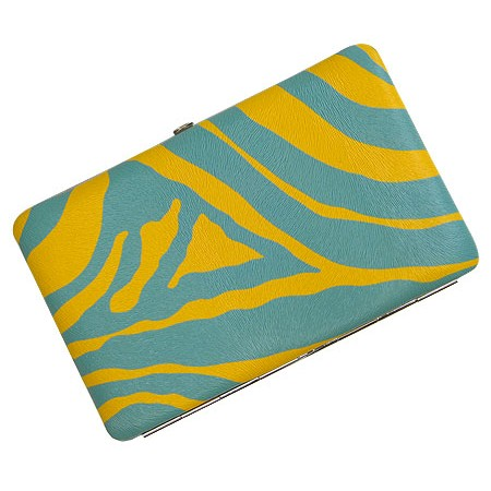 Wallet - Flat Wallet - Zebra Print Flat Wallet -Yellow TQ Blue Stripes - WL-Z002YL-TQ