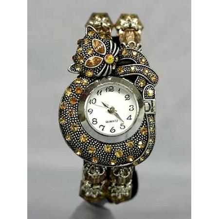 Bracelet Watch - Rhinestone Kitty - Brown - WT-KH01407BN