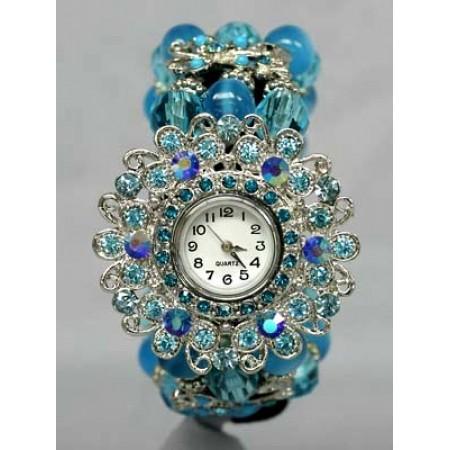 Bracelet Watch - Rhinestones w/ Multi Beaded Stretchable Bracelet - Blue