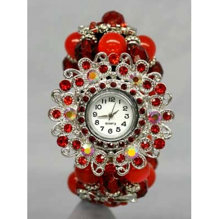 Bracelet Watch - Rhinestones w/ Multi Beaded Stretchable Bracelet - Red - WT-KH07232RD