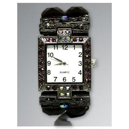 Bracelet Watch - Rhinestones w/ Multi Beaded Stretchable Bracelet - Purple - WT-KH11486PL