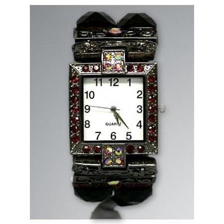 Bracelet Watch - Rhinestones w/ Multi Beaded Stretchable Bracelet - Red - WT-KH11486RD
