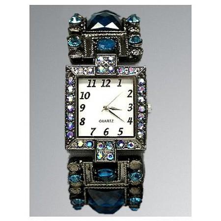 Bracelet Watch - Rhinestones w/ Multi Beaded Stretchable Bracelet - Blue - WT-KH11495BL