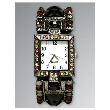 Bracelet Watch - Rhinestones w/ Multi Beaded Stretchable Bracelet - Red - WT-KH11495RD